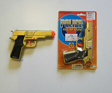 "1 NEW GOLD TOY CAP GUN 7"" POLICE PISTOL DETECTIVE REVOLVER FIRES 8 RING CAPS"
