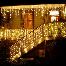 3.5M 96 LED Icicle Hanging Snowing Curtain Fairy Light Outdoor Christmas Wedding