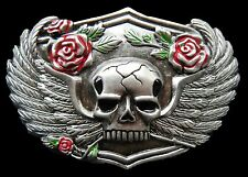 Belt Buckle Human Skull Wings Roses Flowers Biker Buckles Boucle de Ceintures