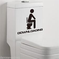 Funny rude humour toilet vinyl decal wall stickers bathroom DOWNLOADING door ST2
