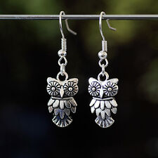 A Pair of Tibetan Silver Art Deco Owl Dangle Earrings, Kitsch, Retro Vintage