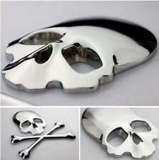 2016 NEW Silver Car Auto Logo 3D Metal Emblem Badge Decals Skeleton Skull Bone