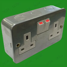 2 Gang, Metal Clad, Switched 13A Double Mains UK 3 pin Wall Power Socket Outlet