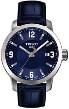 T0554101604700 Tissot PRC 200 Men's Quartz Blue Dial Watch Blue Leather Strap