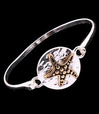 Ocean Sea Life Cruise Starfish Hammered Latch Bangle  Bracelet