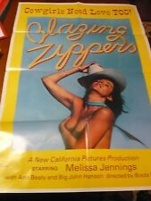 BLAZING ZIPPERS Cowgirl RATED X Adult MOVIE POSTER 1976 ORIGINAL MANCAVE COLLEGE