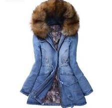 New Winter Fur Collar Womens Lady Slim Long Warm Hooded Jacket Jean Denim Coats