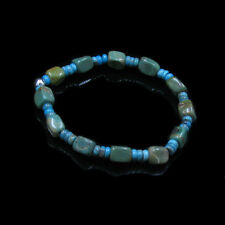 .925 Sterling Silver Green Kingman Turquoise Blue Turquoise Stretch Bracelet