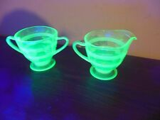 ANTIQUE GREEN DEPRESSION GLASS ETCHED WHEAT VASELINE URANIUM SUGAR BOWL CREAMER