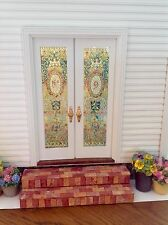 Number 9 Dollhouse Miniature Stained Glass French Door  Films
