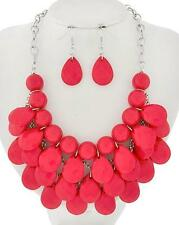 CORAL FACETED LUCITE DROPS BAUBLE BUBBLE NECKLACE EARRING