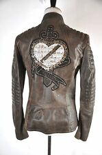 John Galliano Embroidered  Brown Leather Biker Moto  Jacket Size 44/14 $2257.00