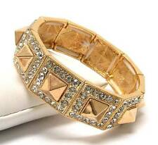 G15 Crystal Square Spike Deco Stretch BRACELET Gold Toned Fashion NEW