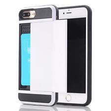 Shockproof Slim Hybrid Card Wallet Hard Back Case +Tempered Glass Film For Apple