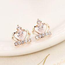 Lady 925 Sterling Silver Cute Swarovski Crystal Crown Stud Earrings Elegant Gift
