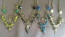 4 Peruvian Glass Cascajo Stone Nuggets Necklaces Handmade Alpaca Silver Lot