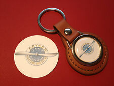 SPYKER CARS  Tan Leather Key Ring & sticker
