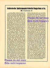 Papierfabrik Fingerhut Breslau XL 1923 Reklame & Historie Werbung Schlesien +