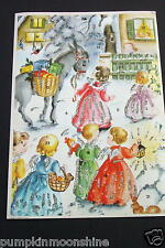 Vintage Unused German Glitter Xmas Advent Calendar Greeting Card Sweet Angels