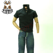 7Toys7 1/6 A16 Polo Shirt_ Charcoal Black Short Sleeves _Black button   7T016C