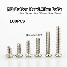 100pcs Button Head Thread M3 Stainless Steel Hex Socket Cap Screw Bolts 16mm