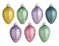"EASTER TREE EGG ORNAMENTS unbreakable plastic 2.5"" glitter trim"
