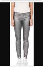 "Sass And Bide ""the Announcement"" Metallic Jeans Size 25 Silver"