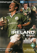 Ireland v Wales under 21 24 Feb 2006 Dubarry Park RUGBY PROGRAMME