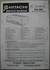 HITACHI HA-007 Stereo Amplifier Service Manual