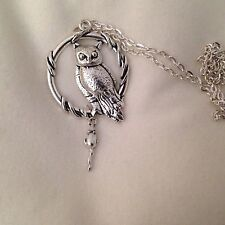 Large Tibetan Silver Barn Owl With His Mouse  Necklace 24""