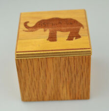 INLAID WOOD TRINKET BOX ELEPHANT ON SLIDING COVER PERFECT FOR GIFT PRESENTATION
