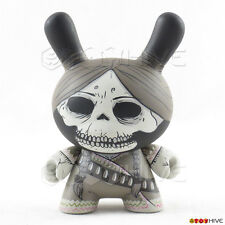 Kidrobot Dunny 2011 Azteca II 2 black and white skull bandit by Oscar Mar loose
