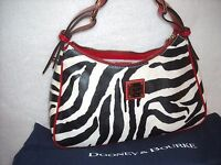 MINT Dooney & Bourke Zebra Leather Red Trim Handbag