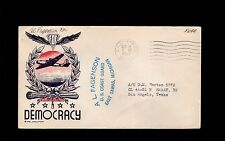 WWII Patriotic Military Free Bomber For Democracy East Tawas MI 1944 Cover 9p