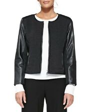 NWT Eileen Fisher CHARCOAL Felted Merino Knit w/Black Leather Jacket 3X $618