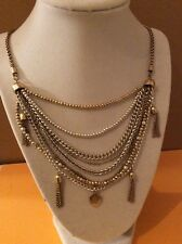 Lucky Brand Draped Multi Chain Two Tone  Tassle Necklace $ 45 #208 (6)