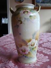 "ANTIQUE NIPPON HAND PAINTED GOLD BEADING VASE, 8"", PINK & BLUE FLOWERS"