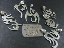 7pcs Cool Men's biker jewelry lucky dragon silver Pendant 316L Stainless Steel