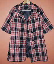 DOKI GEKI Pea coat Jacket Tartan Plaid Mod 3/4 sleeve Wool Fabric