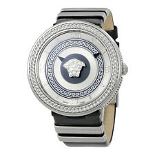 Versace Metal Icon Silver Dial Patent Leather Ladies Watch VLC010014