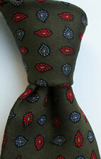 Façonnable Boutique OLive green with Red & blue  paisley Heavy & thick tie