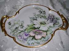 """Limoges Tray with Heavily Gilded Handles and Border; Iceland Poppies; """"Bradford"""""""