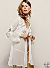 NWT Free People For Love & Lemons Skivvies white Annabella robe Jacket XS $180