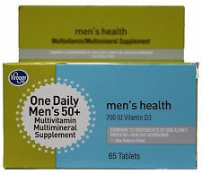 KROGER 65pc ONE DAILY MEN's 50+ Multivitamin Supplement TABLETS New! Exp. 8/17