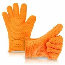SAMRAYA Silicone Baking & BBQ Gloves-Best Heat Resistant Cooking-Orange (2Pcs)