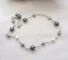 """HONORA TIN CUP MULTI SHAPED AND TUXEDO  NECKLACE 18"""" STERLING SILVER NEW"""