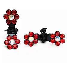 Queenly Mini Bridal Flower Crystal Rhinestone Jaw Clips Hair Clip RED Two pic