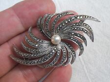 Vintage P835 Silver Swirling Milky Way Galaxy Marcasite w/Cultured Pearl Brooch