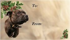 Staffordshire Bull Terrier Xmas Labels by Starprint-No1