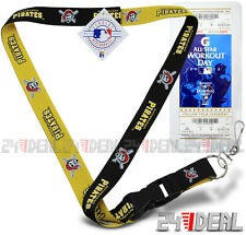 PITTSBURGH PIRATES 2-IN-1 2TONE OFFICIAL MLB LANYARD KEYCHAIN ID + TICKET HOLDER